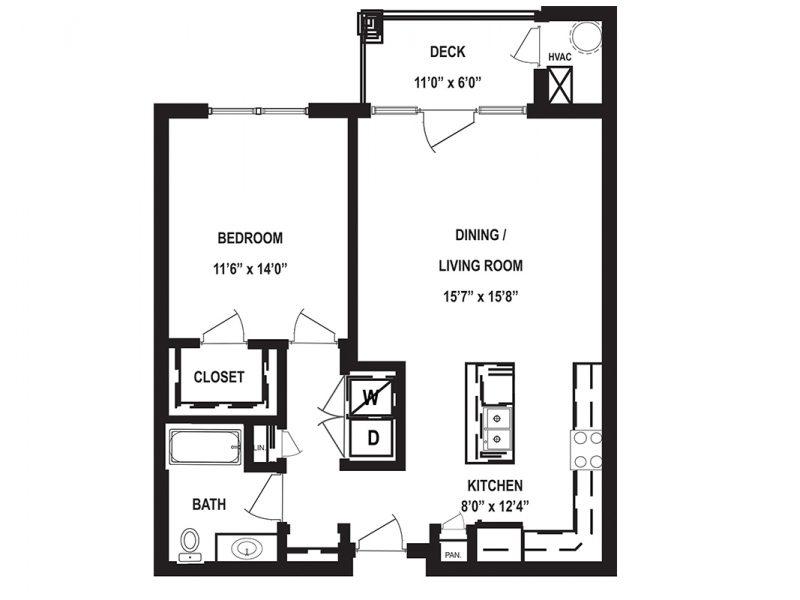 One Bedroom Floor Plan Spruce