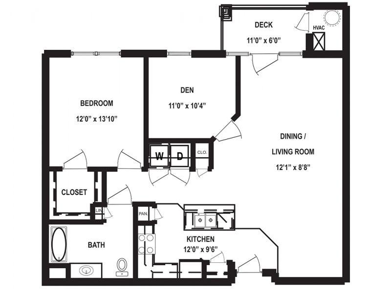 One Bedroom Floor Plan with Den